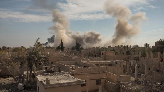 Coalition airstrikes targeting ISIS positions in the town of Susa on January 16.