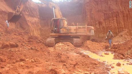 A Chinese mine site in Cameroon. Industrial machines are used to dig up the site.
