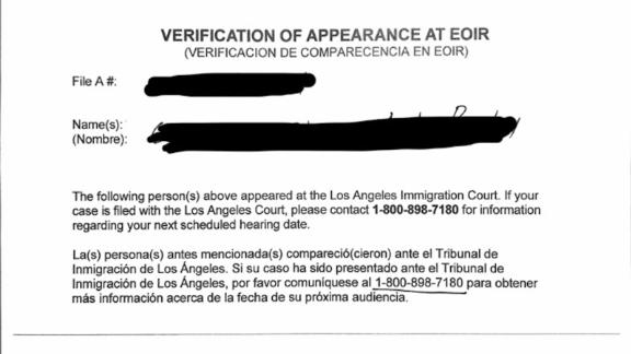 "In Los Angeles, immigrants who had ""fake dates"" were given paperwork acknowledging they'd appeared at the immigration court, according to attorney Jonathan Vallejo, who provided this redacted copy of one such form."