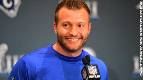 Sean McVay of the Los Angeles Rams answers a question during media availability for Super Bowl LIII at the team's hotel in Atlanta on Thursday.