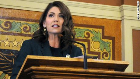 Gov. Kristi Noem addressing lawmakers last month in Pierre, South Dakota.