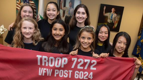 These eight girls are part of the 22 founding members of an all-girl Boy Scout Troop in Costa Mesa, California.