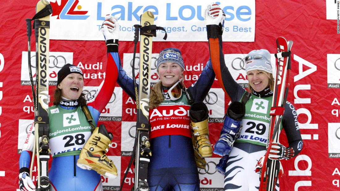 Vonn, center, celebrates her first World Cup victory with France's Carole Montillet-Carles and Germany's Hilde Gerg in December 2004. The downhill race was in Lake Louise, Alberta.