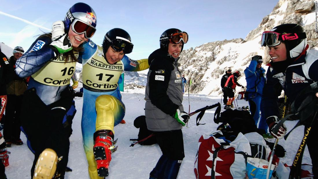 Vonn, left, dances with some of her competitors before the start of a World Cup training session in January 2006.