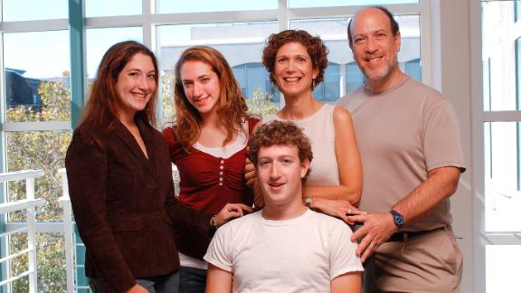 From left, the family of Facebook founder Mark Zuckerberg: his sisters, Randi and Arielle, and his parents, Karen and Ed, with Zuckerberg, center, at the company's office in Palo Alto, California, on October 8, 2005.