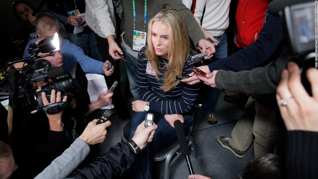 Vonn talks to the media at the 2010 Winter Olympics. She was heavily favored to win medals following her third straight World Cup title.