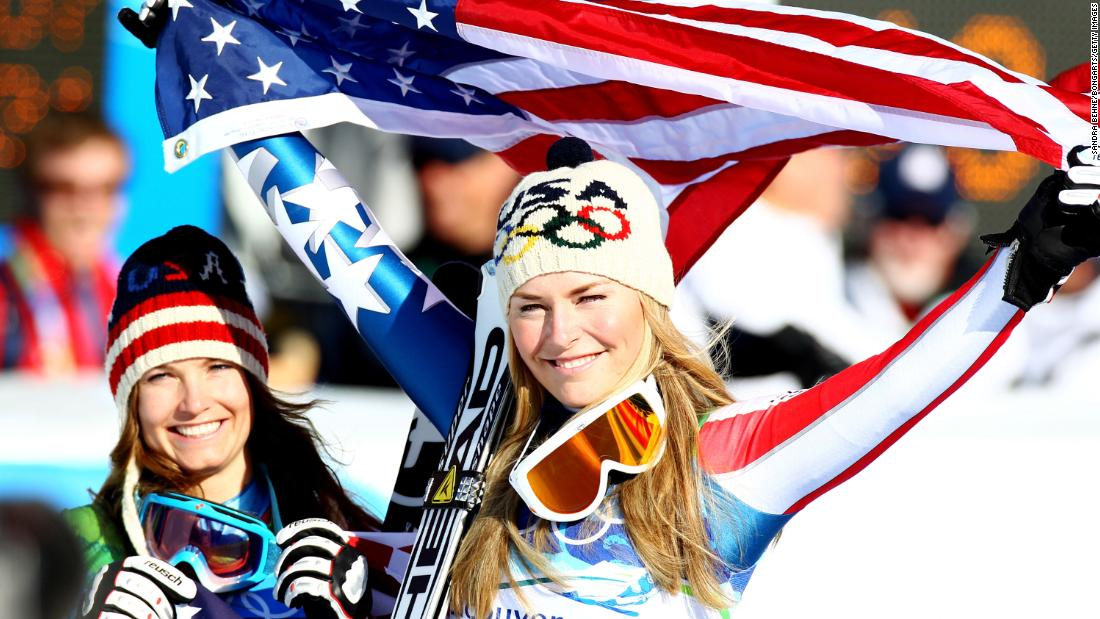 Vonn achieved her Olympic dreams in 2010, winning gold in the downhill and bronze in the super-G. She celebrates here with fellow American Julia Mancuso, won won silver in the downhill.