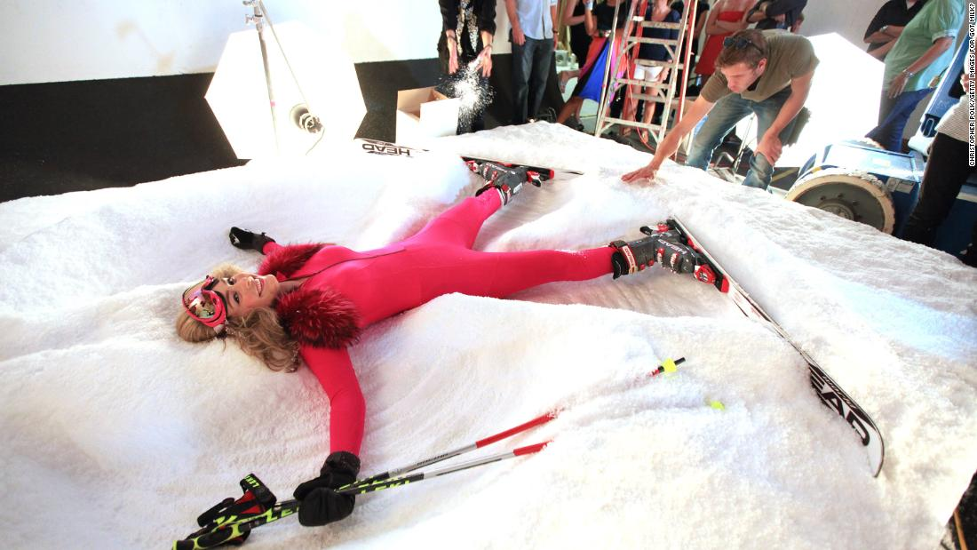 "Vonn poses on the set of a ""Got Milk?"" commercial shoot in August 2010."