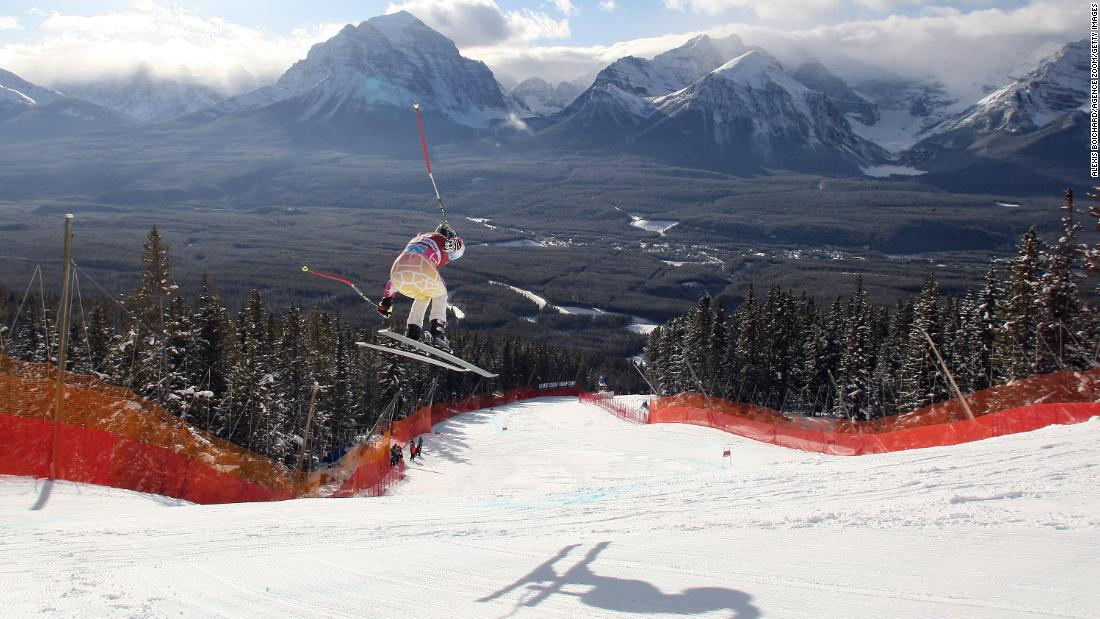 Vonn soars through the air while training in Lake Louise, Alberta, in December 2010.