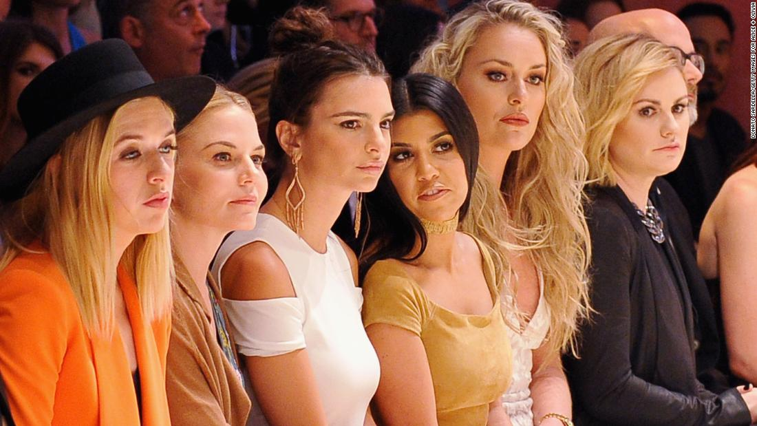 Vonn, second from right, attends a Hollywood fashion show with other celebrities, including Emily Ratajkowski, Kourtney Kardashian and Anna Paquin, in April 2016.