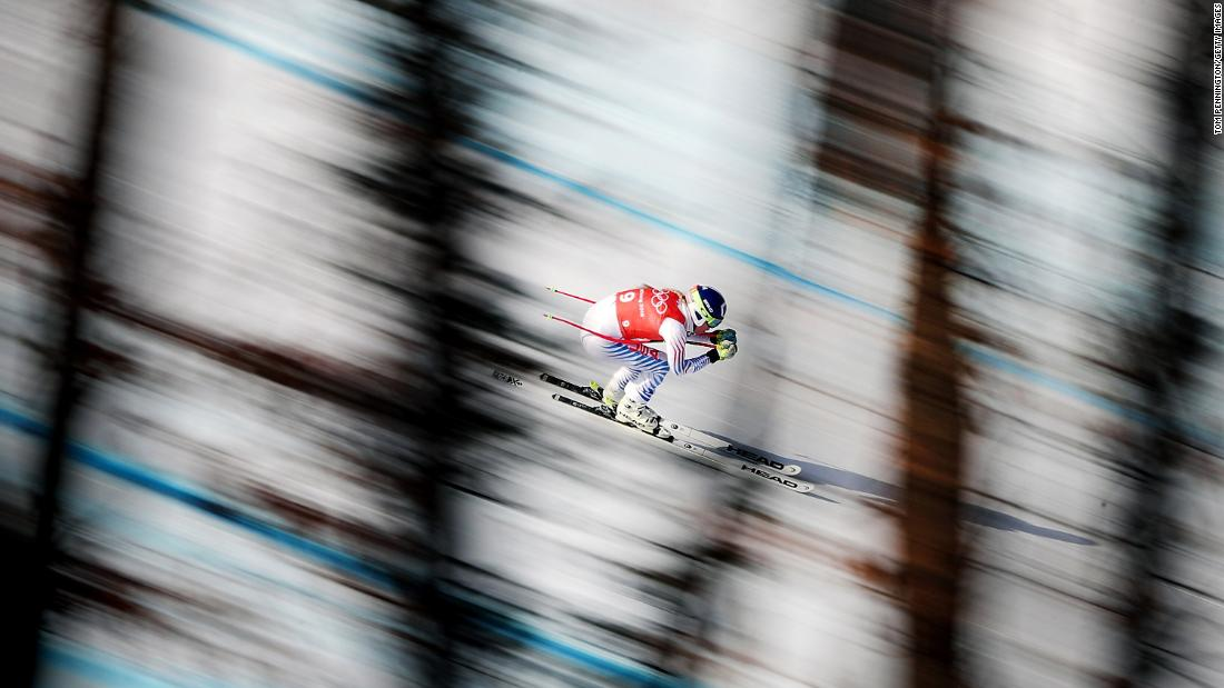 Vonn makes a training run at the 2018 Winter Olympics in Pyeongchang, South Korea.