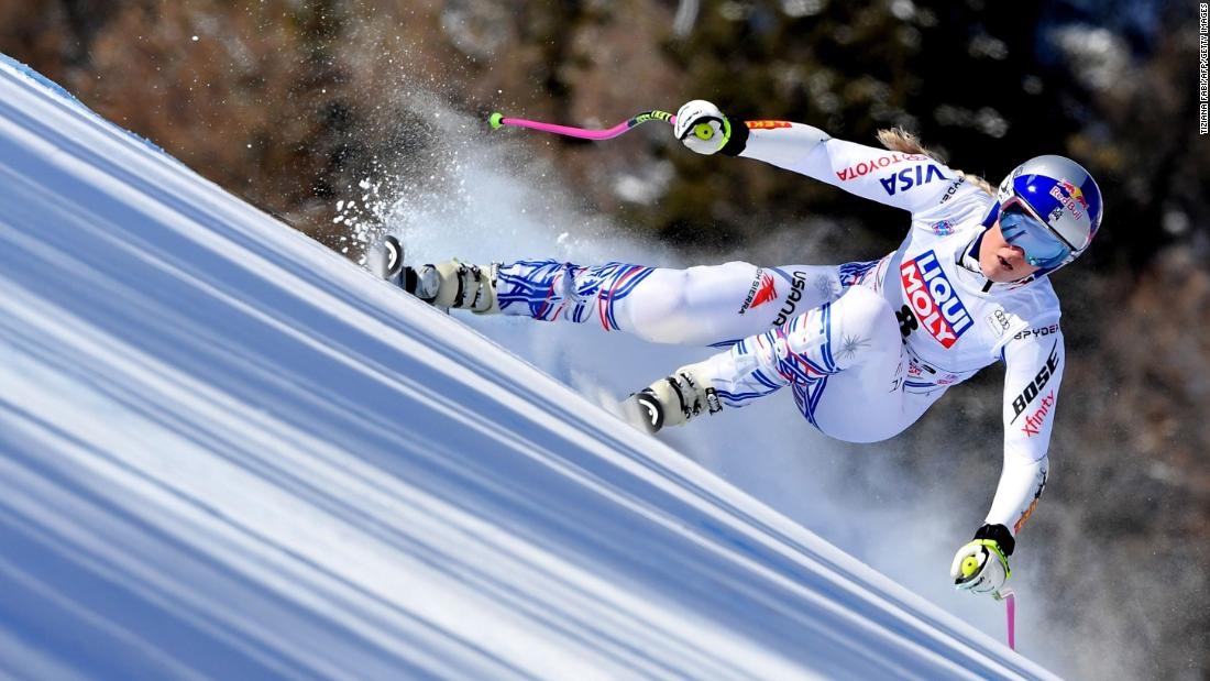 Vonn competes at a World Cup event in Italy in January 2019. She experienced knee pain it what was her belated season debut.