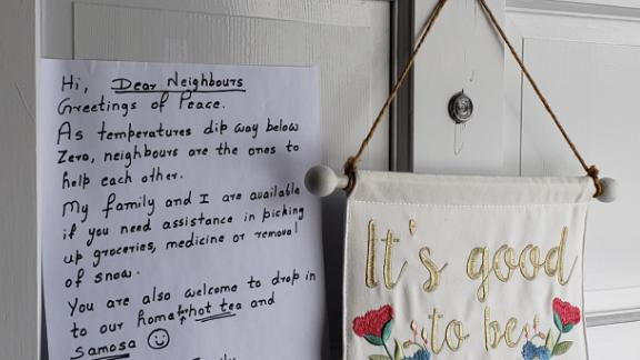 The family of Sabeel Ahmed left 40 handwritten letters on neighbors' doors offering warm regards during the cold snap.