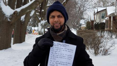 "Sabeel Ahmed said he hopes his letters cause a ""ripple effect"" of kindness in his suburban Chicago neighborhood."