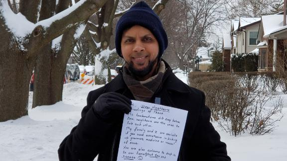 """Sabeel Ahmed said he hopes his letters cause a """"ripple effect"""" of kindness in his suburban Chicago neighborhood."""