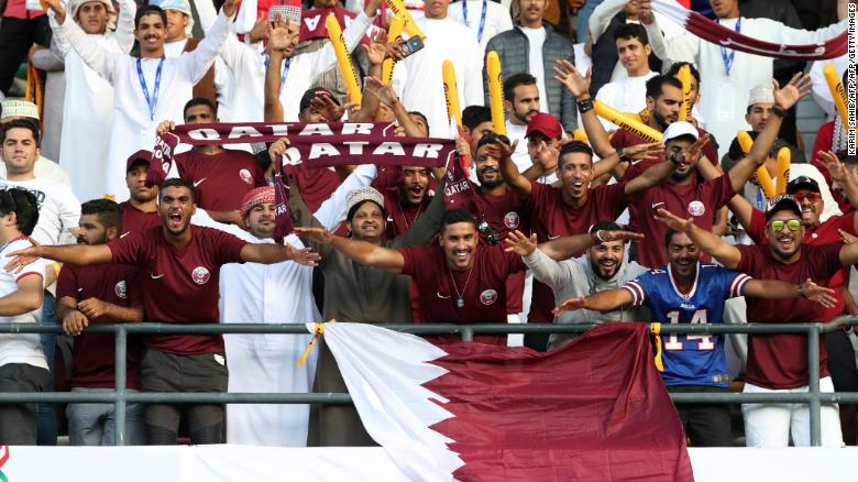Qatar supporters cheer during the 2019 AFC Asian Cup final football match between Japan and Qatar.