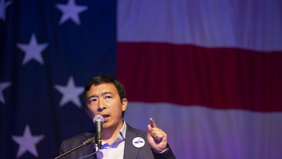 Andrew Yang, founder of Venture for America and 2020 Democratic presidential candidate, speaks during the Democratic Wing Ding event in Clear Lake, Iowa, U.S., on Friday, Aug. 10, 2018. The event in its 15th year of operation is a Democratic fundraiser that benefits participating county parties. Photographer: Daniel Acker/Bloomberg via Getty Images