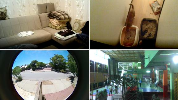 Screenshots from a series of internet-connected cameras accessed by CNN via the internet of things search engine Shodan. None of the cameras had any security checks.