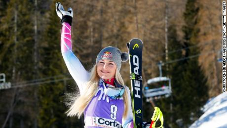 CORTINA D'AMPEZZO, ITALY - JANUARY 20: Lindsey Vonn of USA takes 1st place during the Audi FIS Alpine Ski World Cup Women's Downhill on January 20, 2018 in Cortina d'Ampezzo, Italy. (Photo by Christophe Pallot/Agence Zoom/Getty Images)