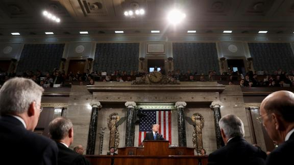 U.S. President Donald Trump, center, delivers a State of the Union address to a joint session of Congress at the U.S. Capitol in Washington, D.C., U.S., on Tuesday, Jan. 30, 2018. Trump sought to connect his presidency to the nation
