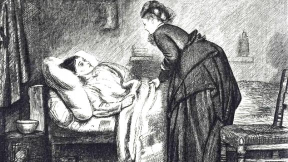 An engraving depicting a sick woman on a truckle bed in a cottage kitchen/ living rooms. Illustrated by Francis Wilfred Lawson (1842-1935) a British painter and artist. Dated 19th century. (Photo by: Universal History Archive/UIG via Getty Images)
