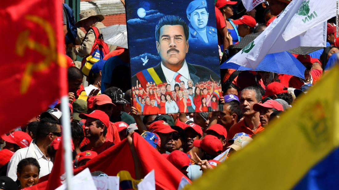 Maduro supporters gather in Caracas on February 2.