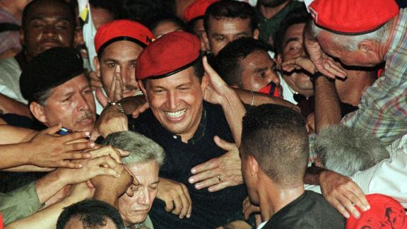 Young Hugo Chavez as a presidential candidate.