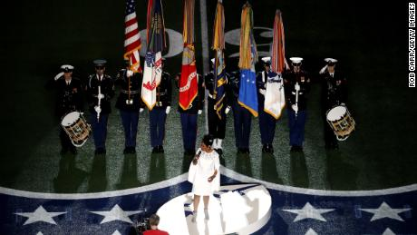 ATLANTA, GEORGIA - FEBRUARY 03: Gladys Knight performs the National Anthem prior to Super Bowl LIII between the New England Patriots and the Los Angeles Rams at Mercedes-Benz Stadium on February 03, 2019 in Atlanta, Georgia. (Photo by Rob Carr/Getty Images)