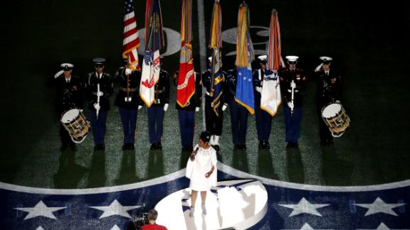 Gladys Knight performs the National Anthem.