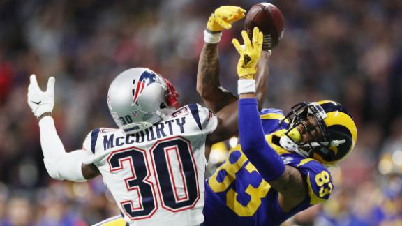 McCourty breaks up a pass intended for Josh Reynolds in the second quarter. The Patriots had a 3-0 lead at halftime.