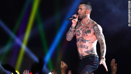 ATLANTA, GEORGIA - FEBRUARY 03: Adam Levine of Maroon 5 performs during the Pepsi Super Bowl LIII Halftime Show at Mercedes-Benz Stadium on February 03, 2019 in Atlanta, Georgia. (Photo by Al Bello/Getty Images)