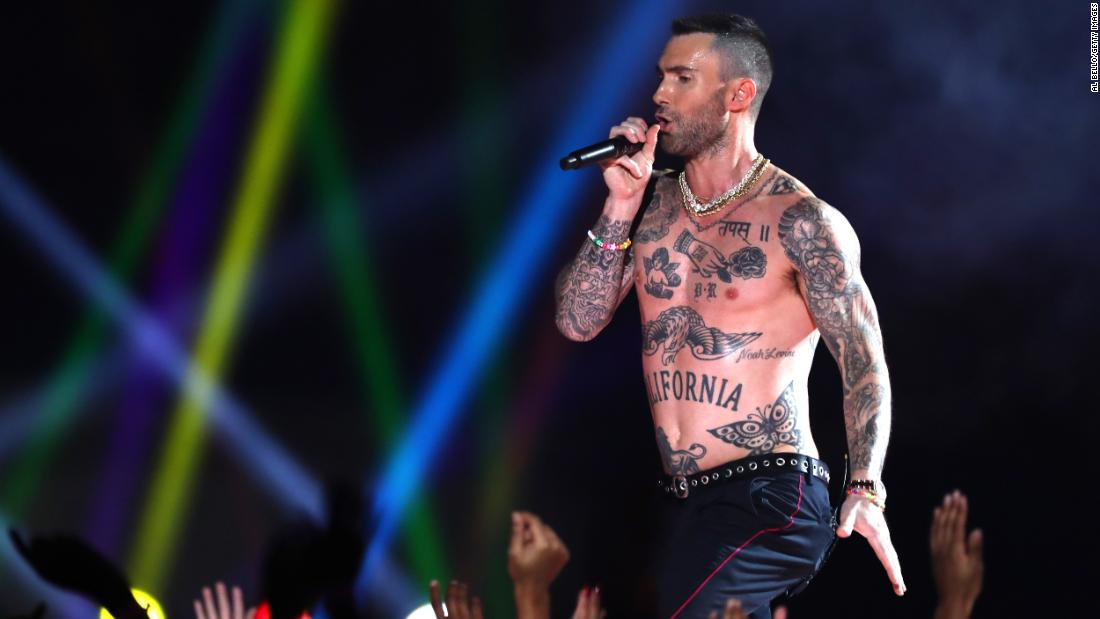"Levine went shirtless for his band's song ""Moves Like Jagger."""