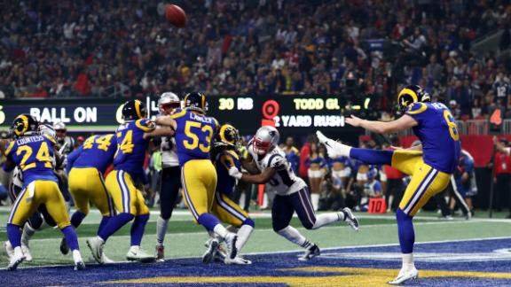 Rams punter Johnny Hekker was busy for much of the game as his team's offense continued to stall. In the third quarter, Hekker booted a Super Bowl-record punt of 65 yards.