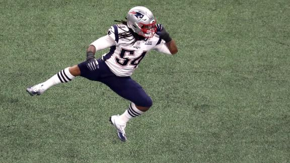 Patriots linebacker Dont'a Hightower celebrates a sack in the third quarter. It was his second of the game.