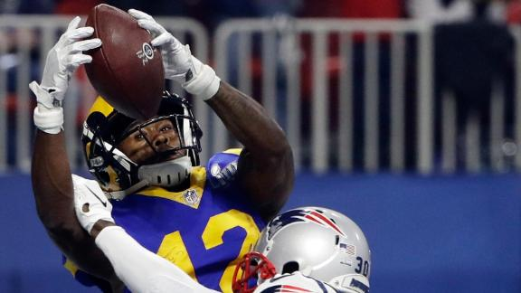 Patriots defensive back Jason McCourty breaks up a pass in the end zone that was intended for Rams wide receiver Brandin Cooks in the third quarter.