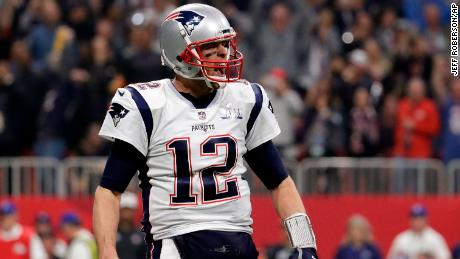 New England Patriots' Tom Brady (12) celebrates a touchdown during the second half of the NFL Super Bowl 53 football game against the Los Angeles Rams, Sunday, Feb. 3, 2019, in Atlanta. (AP Photo/Jeff Roberson)