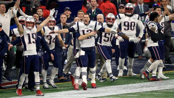 The New England Patriots celebrate after the Los Angeles Rams missed a late field goal in Super Bowl LIII. The miss virtually assured the Patriots' victory.
