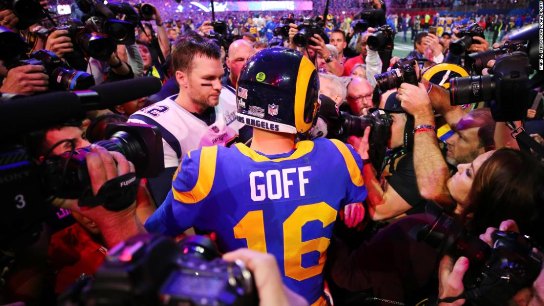 Brady and Rams quarterback Jared Goff greet each other after the final  whistle. Photos  Super Bowl 2019  ... f91d003a8