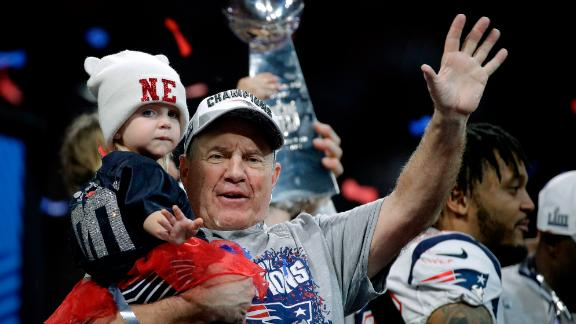 Bill Belichick waves after winning his sixth Super Bowl as head coach.