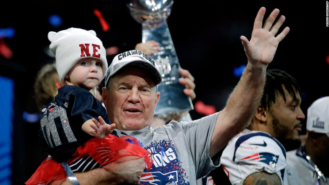 9f078a665 Bill Belichick waves after winning his sixth Super Bowl as head coach.