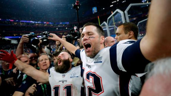 New England Patriots' Julian Edelman, left, and Tom Brady celebrate after the NFL Super Bowl 53 football game against the Los Angeles Rams, Sunday, Feb. 3, 2019, in Atlanta. The Patriots won 13-3. Edelman was named the Most Valuable Player.(AP Photo/David J. Phillip)