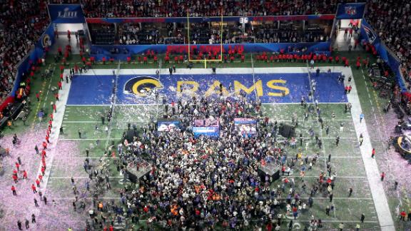An overhead view of the postgame celebrations. The game was played at Mercedes-Benz Stadium in Atlanta.