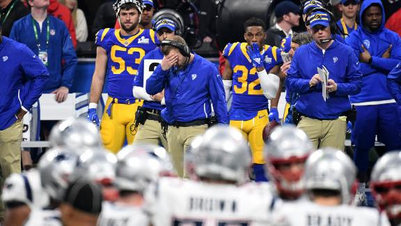Rams head coach Sean McVay covers his face on the sideline.