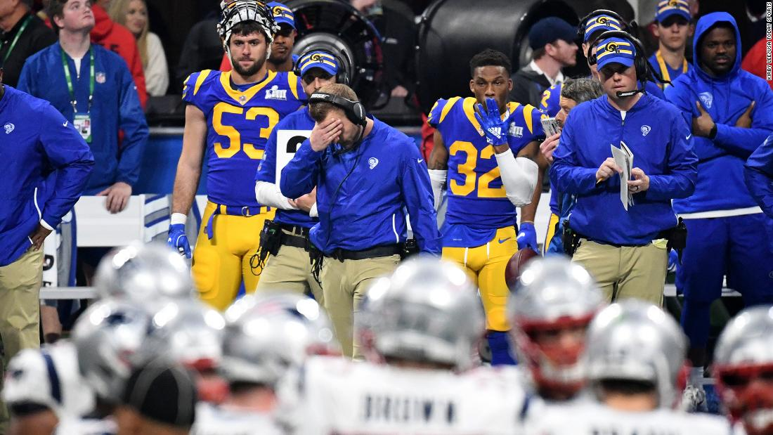 Rams head coach Sean McVay covers his face on the sideline. Photos  Super  Bowl 2019  ... 1242f7b07
