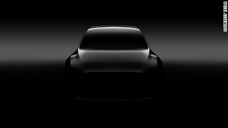 An early look from Tesla at what its Model Y SUV will look like. The full car is due to be revealed Thursday.