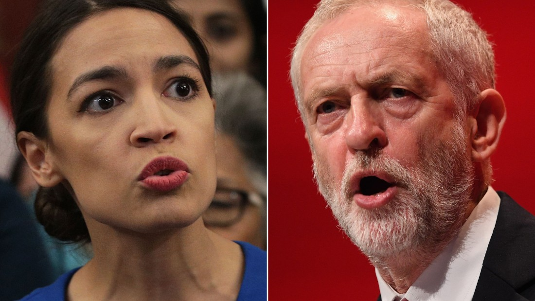Alexandria Ocasio-Cortez and Jeremy Corbyn spoke in a phone call Sunday evening.
