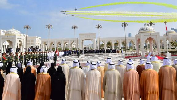 Planes fly over the presidential palace in Abu Dhabi on Monday.