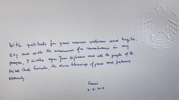 Pope Francis' message in the palace's Book of Honor.