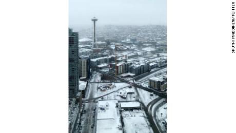 Sruthi Maddineni took this photo of snowy Seattle at about 10:30 a.m. PT on Monday from a 37th floor window.