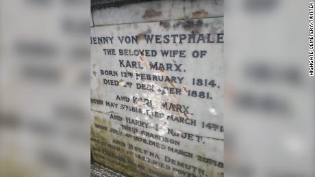 The damage done to Karl Marx's tomb in Highgate Cemetery, London
